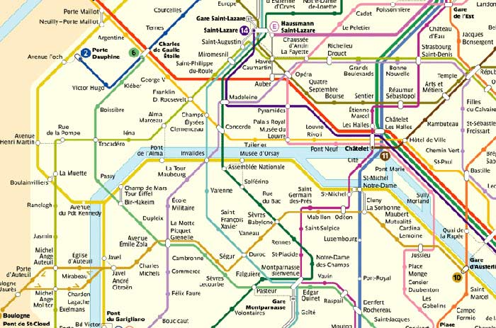 U-Bahn Metro Plan Paris Linien Stationen