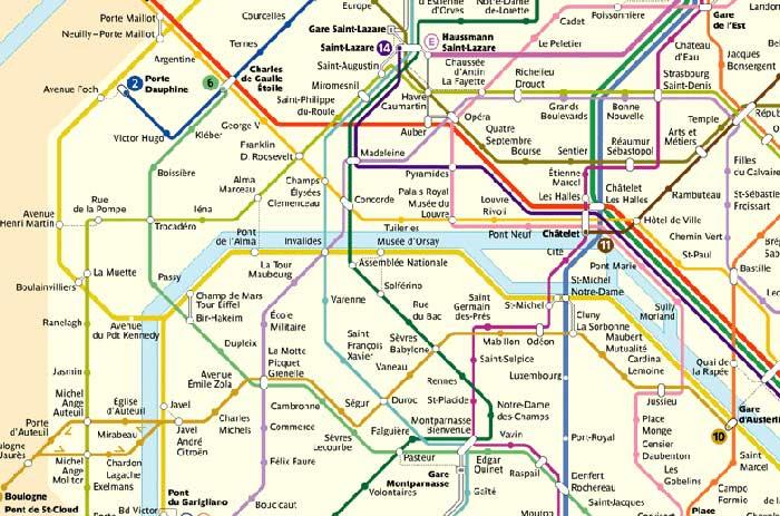 U-Bahn Metro Plan Paris Linien Stationen