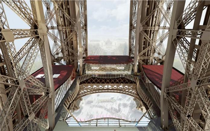 Eiffelturm erster Stock Etage Glasboden Skywalk