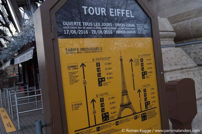 Eiffelturm-Tickets-Preise