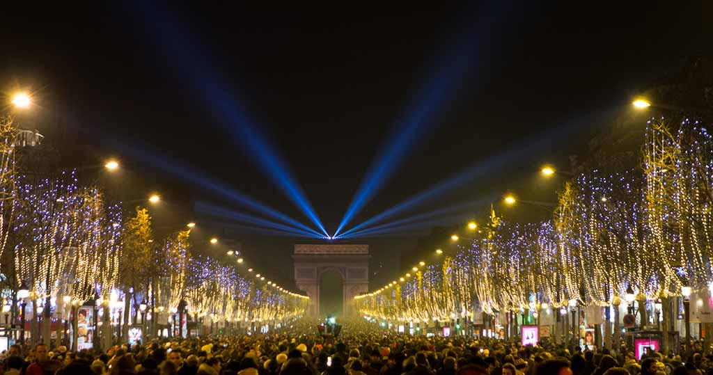 Silvester Neujahr Champs-Elysees Paris