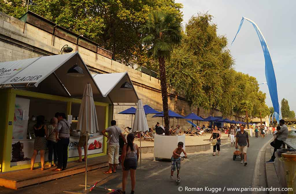 Eis essen Paris Stadtstrand Paris Plages