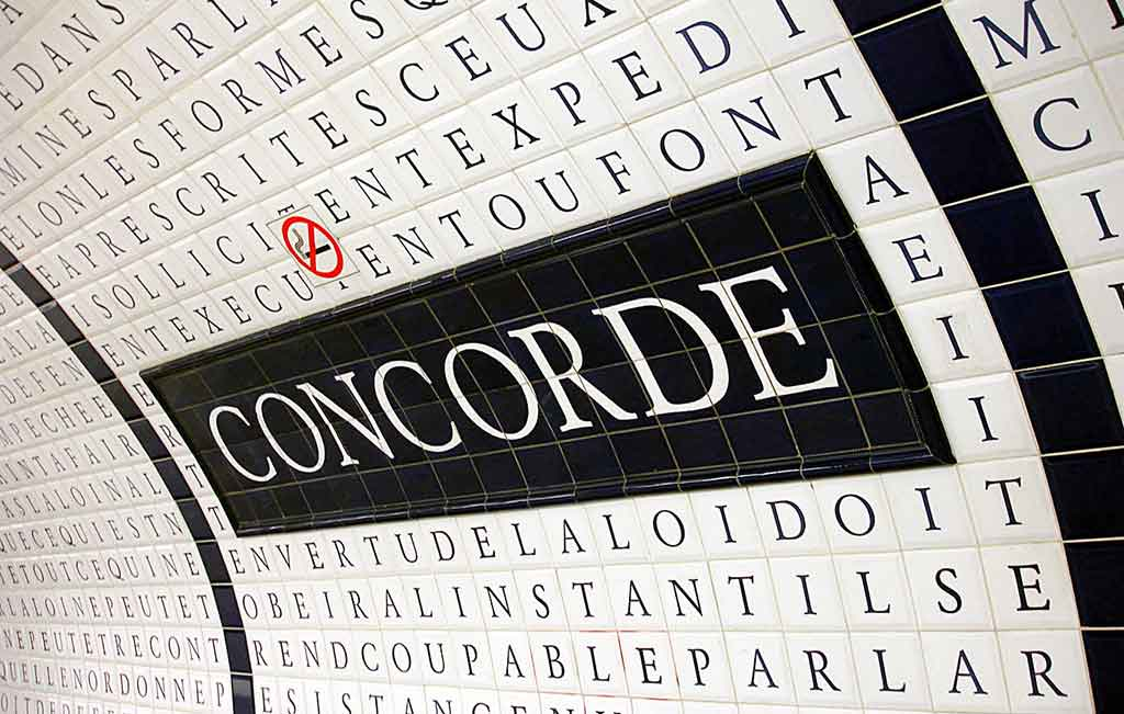 Metrostation Concorde in Paris Menschenrechte