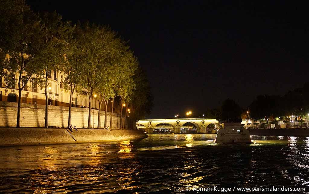 Paris Plage Seine Nachts Boote