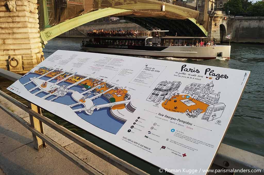 Paris Plages Anzeigetafeln Stadtstrand