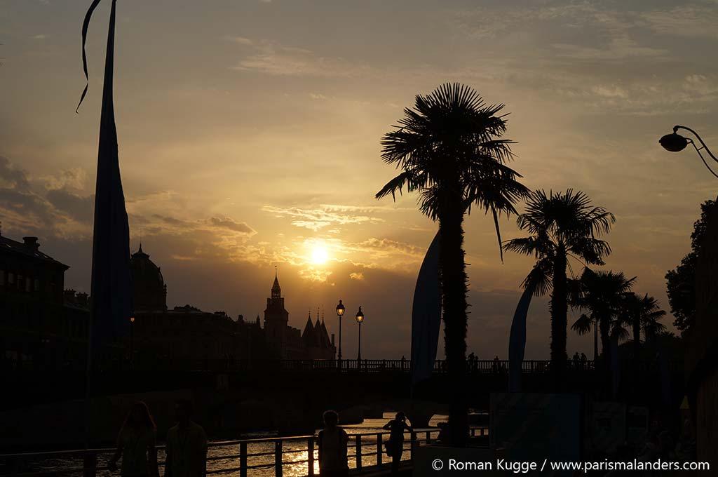 Paris Plages Stadtstrand Sonnenuntergang Coucher de soleil Sundown