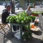 Maiglöckchen Verkäufer Paris 1. Mai Feiertag Muguet
