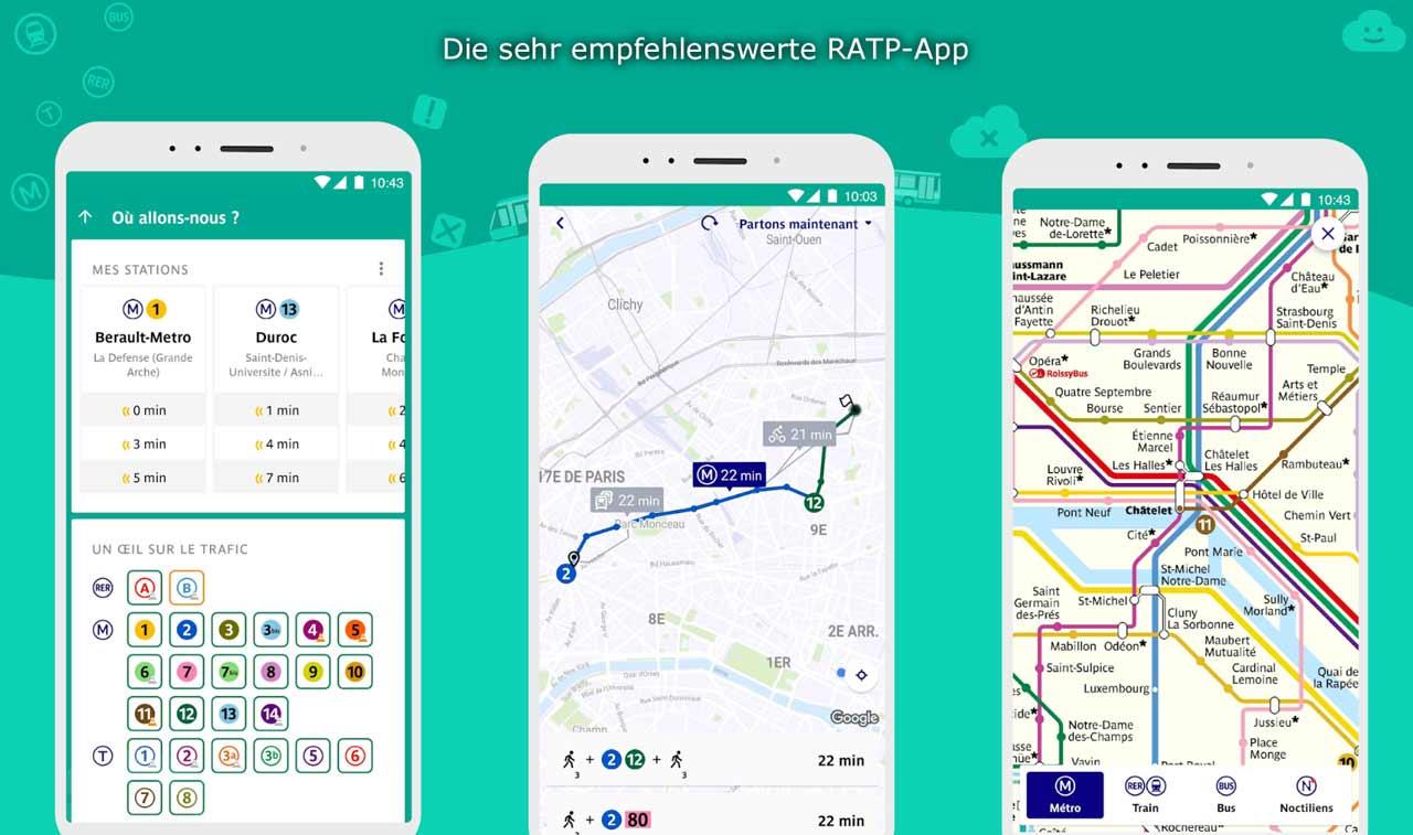 RATP App öffentliche Verkehrsmittel Paris